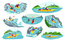 People Kayaking Vector Illustration Set. Cartoon Flat Man Woman Active Kayaker Characters Canoeing, Sitting In Kayak Boat, Holding Paddles And Rafting. Water Sport Extreme Activity Isolated On White