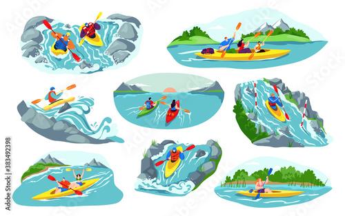 People kayaking vector illustration set Fototapeta