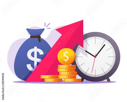 Economic deflation money growth through time vector concept, success dividends cash return rise, revenue income earning, savings value increasing, stocks market benefit financial data