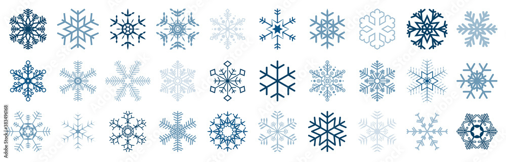Fototapeta collection of different christmas snow flakes