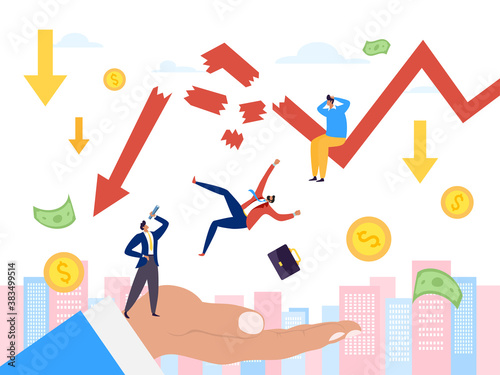 Bankruptcy and financial crisis, economy down graph vector illustration Wallpaper Mural