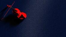 Red Classic Violin On Dark Blu...