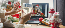 Christmas Online Holiday Remote Celebration X Mas New Year In Lockdown Coronavirus Quarantine Covid 19 New Normal, Social Distance, Remote Communication, Stay Home Vocation, Christmas Party Online