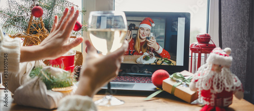 Obraz Christmas online holiday remote celebration X mas new year in lockdown coronavirus quarantine covid 19 new normal, social distance, remote communication, stay home vocation, Christmas party online - fototapety do salonu