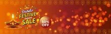 Diwali Festive Season Sale Banner, 50% Off,  On Beautiful Bokeh Backgrund. Dipawali, Indian Festival, Diya Lamp, Oil Lamp, Colorful Bokeh Background, Vector Illustration Offer Banner, Advertisement
