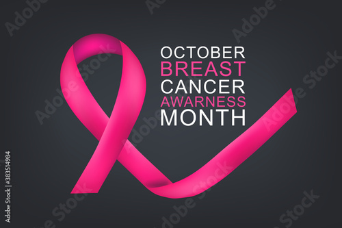 Obraz Breast Cancer awareness month October. Realistic pink ribbon symbol. Healthcare or charity support concept background. Vector illustration. - fototapety do salonu