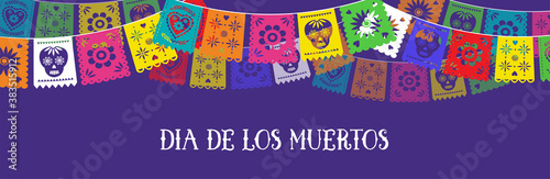 Fotografiet Day of the dead, Dia de los muertos, banner with colorful Mexican bunting