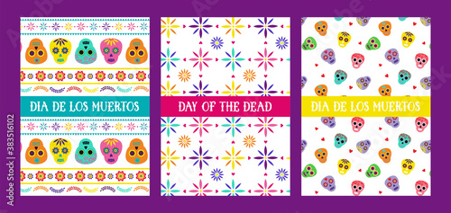 Photo Day of the dead, Dia de los muertos, greeting cards with traditional colorful Mexican patterns