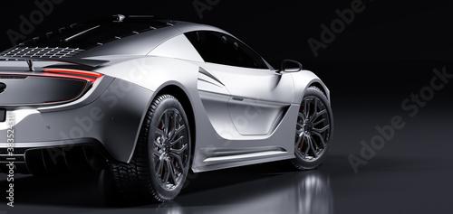 Obraz Rear view of modern fast sports car in studio light. Brandless generic contemporary design - fototapety do salonu