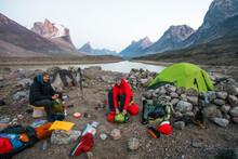 Two Climbers At Summit Lake Ba...