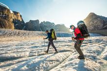Backpackers Hike Across Glacie...