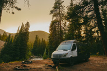 Camper Van Riverbed During Golden Hour Sunset Near Aspen, Colorado.