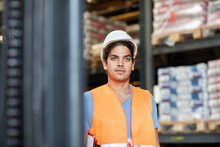 Young Store Worker With Helmet...