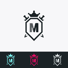 Letter M Shield, Sword, Crown -Abstract Logo - Vector Design