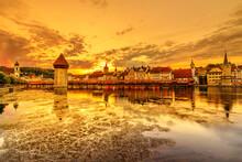 Lucerne Sunset Cityscape Refle...