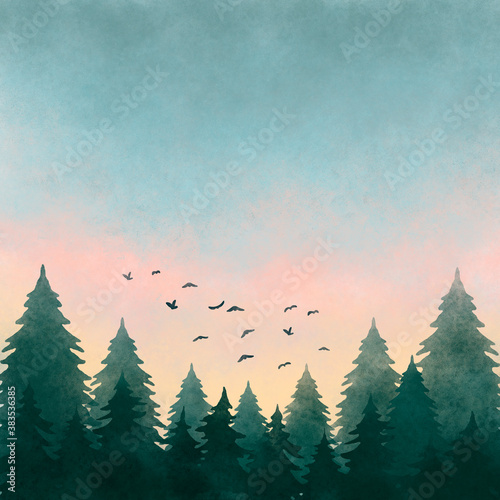 Fototapeta Watercolor illustration of a forest landscape at sunset obraz