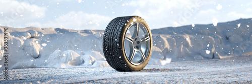 Obraz Single winter tire in the snow in winter - fototapety do salonu