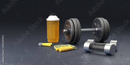 Gym fitness sport background. Sport template with weight dumbell, shaker, jumping rope isolated on black background. Fit sport concept mockup. 3D rendering.