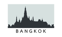 Silhouette Scenery Of World Famous Wat Arun Temple. Greatest Landmarks Of Asia. Linear Modern Style Vector Icon Symbol Of Bangkok, Thailand. Minimalist One Line Trendy Style.Vector Illustration EPS 10