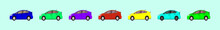 Set Of Car Cartoon Icon Design Templates With Various Car Models. Vector Illustration Isolated On Blue Background
