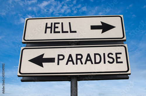 Photo Hell versus paradise road sign