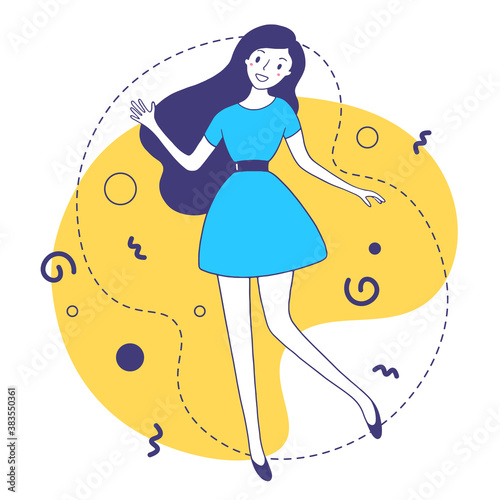 Vector illustration of a fashion smiling girl with dark hair in blue dress on yellow background. #383550361