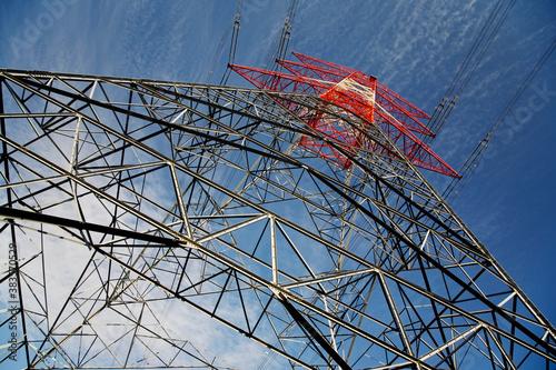 Obraz na plátně Electricity pylon low angle view