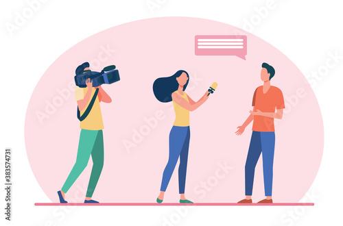Fotografia Camera crew making reportage