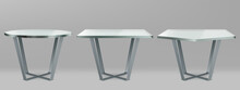 Modern Tables With Round, Square And Pentagon Glass Top. Vector Realistic Set Of Cocktail, Coffee Or Dining Table With Metal Cross Legs And Clear Plexiglass Top