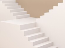 3d Rendering, Abstract Cosmetic Background. Minimal Podium To Show A Product. Empty Scene With Stairs . Pastel Cream Minimal Wall. Fashion Showcase, Display Case, Shopfront.