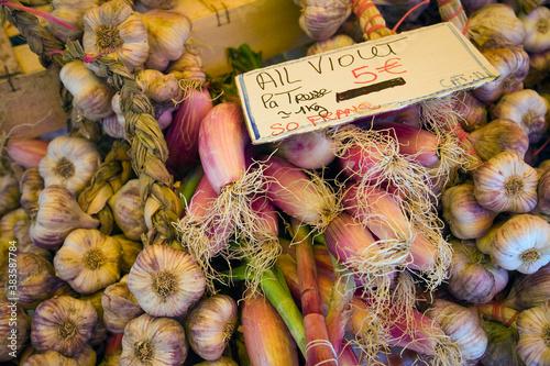 Food at market stall Fotobehang