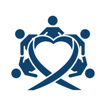 Childrens Holding Hands Around Heart Silhouette Icon