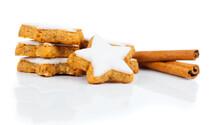 Christmas Cinnamon Star Cookies Isolated On White