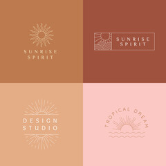 Vector set of linear boho icons and symbols - sun logo design templates - abstract design elements for decoration in modern minimalist style