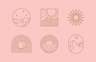 Vector set of linear boho icons and symbols - sun logo design templates - abstract design elements for decoration in modern minimalist style for social media posts