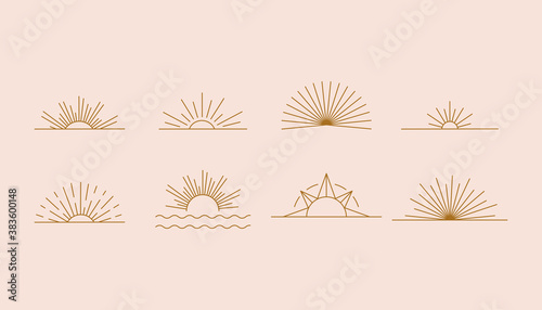Fototapeta Vector set of linear boho icons and symbols - sun logo design templates  - abstract design elements for decoration in modern minimalist style for social media posts obraz