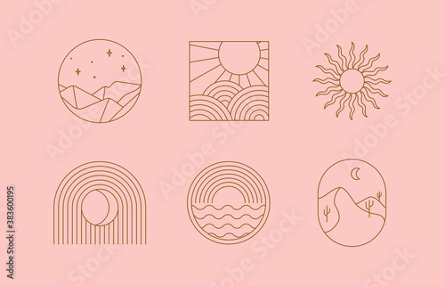 Obraz na plátně Vector set of linear boho icons and symbols - sun logo design templates  - abstr