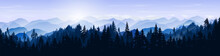 Snowy Mountain Landscape. Vector Blue Silhouette Of Mountains, Hills And Forest. Holiday Background With Pine, Spruce, Christmas Tree. Winter Nature. Banner With Evergreen Coniferous Trees For Website