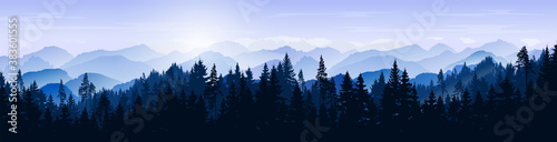 Fototapeta Snowy mountain landscape. Vector blue silhouette of mountains, hills and forest. Holiday background with pine, spruce, Christmas tree. Winter nature. Banner with evergreen coniferous trees for website obraz