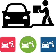 Online Order Curbside Pickup Vector Icon