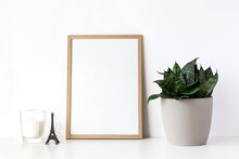 Empty Wooden Frame Stands On W...