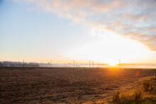 Sunrise Over Misty Paddocks An...