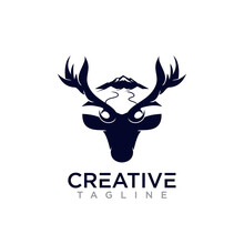 Creative Deer And Mountain Log...