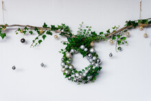 Christmas Wreath With Fresh Ivy