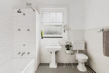 Interior Of White Tiled Bathroom