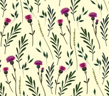 Simple Botanical Pattern With Wild Flowers On A White Background. Single Sickle Flowers, Various Plants, Leaves, Small Flowers. Seamless Pattern In Soft Pastel Colors.