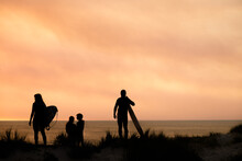 Silhouette Portrait Of Surfing...