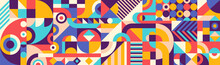 Abstract Geometric Pattern Design In Retro Style. Vector Illustration.