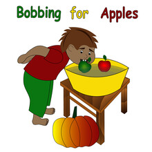 Halloween Greeting Card. Cute Boy Is Playing Traditional Halloween Game - Bobbing For Apples.