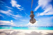 Unusual Lantern On The White Beach Background Blue Sky
